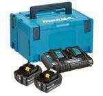 Makita 197629-2 18V Litio-Ion Juego de baterías (2x 5.0Ah) cargador duo en maletín Makpac