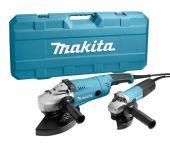 Makita DK0053G Set amoladora angular (GA9020 & 9558HN) en maletín - 2200W / 840W - 230mm / 125mm