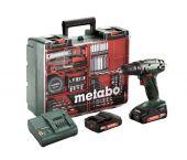 Metabo BS 18 18V Litio-ion- Juego de herramientas - Taladro / atornillador (2x baterías 2.0Ah ) en maletín incluye accesorios de 73 pzas - 602207880
