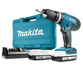 Makita HP457DWE 18V Li-Ion Set de Taladro / Atornillador a batería (2 baterías x 1.3 amperios) en maletín
