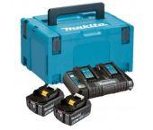 Makita 197629-2 18V Litio-Ion Juego de baterías (2x 5.0Ah) cargador duo en maletín Mbox