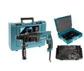 Makita HR2470 SET SDS-plus Martillo combinado en maletín - 780W - 2,4J + B-52059 / B-53877 Set de 17 piezas SDS-plus brocas/cinceles en Mbox