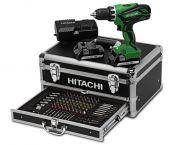 Hitachi DS18DJL(LC)  / (WK) 18V Li-Ion batería Taladro atornillador set (2x baterías de 1.5 amperios) en maletín incluyendo set de accesorios de 100 piezas