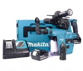 Makita DHR243RTJV 18V Li-Ion batería SDS-plus Martillo combinado incluyendo portabrocas y colector de polvo set (2x baterías de 5.0 amperios) en Mbox - 2J - sin escobillas