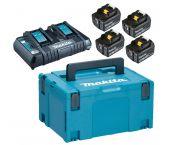 Makita 197626-8 18 V Litio-Ion Juego de baterías (4x baterías 5.0Ah) cargador duo en Maletín Mbox